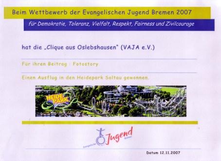 Urkunde Fotostory 2007 Oslebshausen